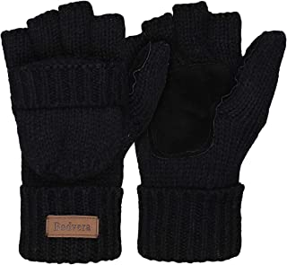 Best Thermal Insulation Fingerless Texting Wool Gloves Unisex Winter Warm Knitted Convertible Mittens Flap Cover Review