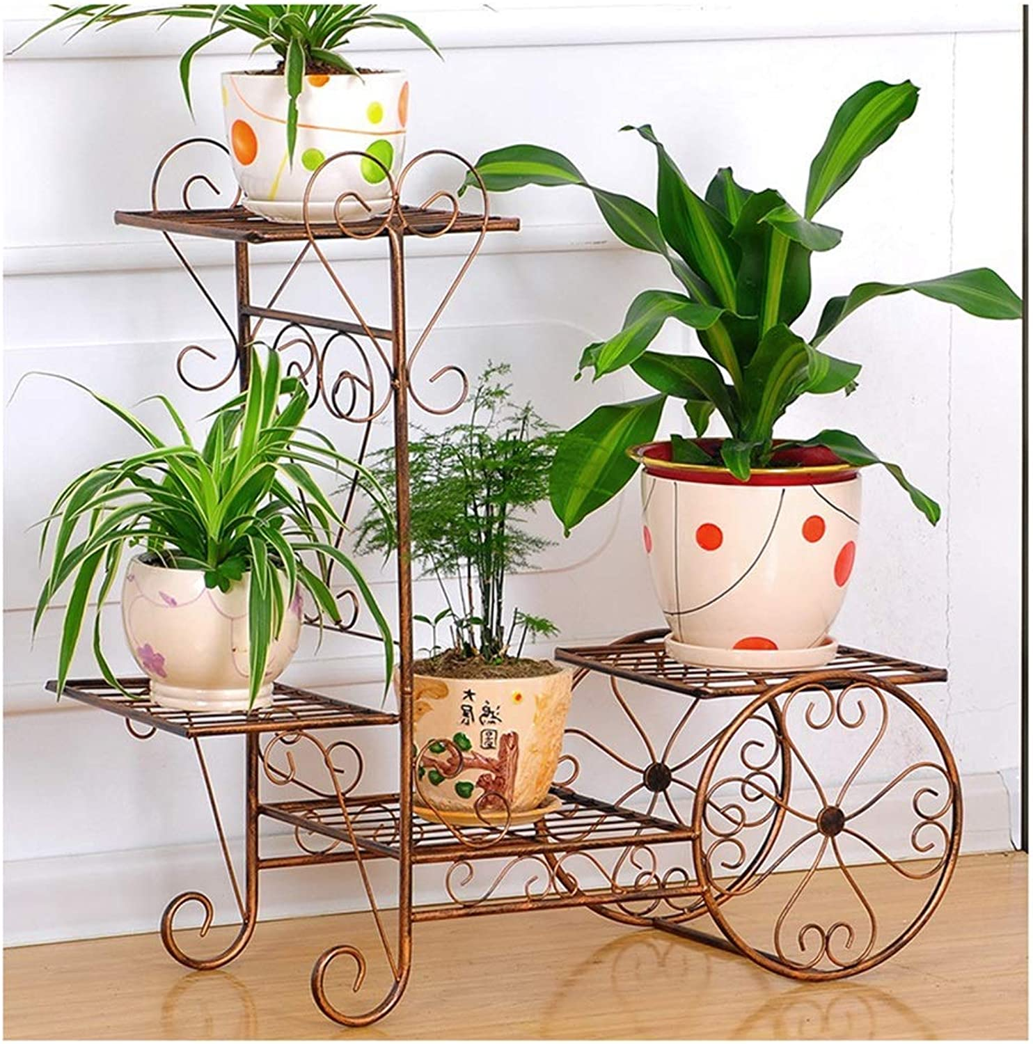 BXJ Flower Stand, Multi-Tier Indoor Special Balcony Decoration Frame Wrought Iron Living Room Save Space Flower Pot Rack Floor Type (color   Brass)