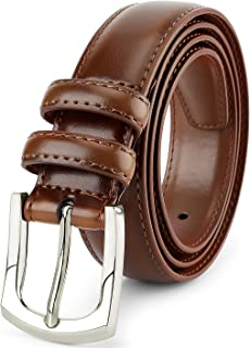 Men's Genuine Leather Dress Belt Classic Stitched Design 30mm 'ALL LEATHER' Regular Big and Tall Sizes