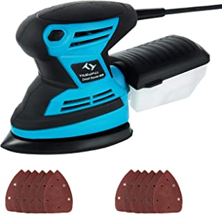 Mouse Detail Sander Tilswall 1.7Amp 15,000 OPM with 12pcs Sanding Pads (80 & 120 Grits), Dust Collection System For Home Decoration, DIY etc