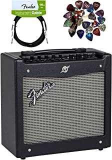 Fender Mustang Guitar Amplifier Bundle with Instrument Cable, Pick Sampler, and Austin Bazaar Polishing Cloth, Bundle w/ Instrument Cable, Mustang