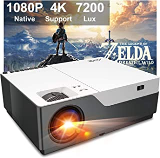 """Projector, Artlii Full HD 1080P Projector Support 4K, 6500 lumens 300"""" Home Theater Projector, 5000:1 Contrast Ratio Compa..."""