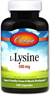 Carlson - L-Lysine, 500 mg, Supports Healthy Tissue & Muscle Development, 100 Capsules