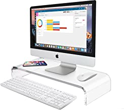 AboveTEK Premium Acrylic Monitor Stand, Custom Size Monitor Riser/Computer Stand for Home Office Business w/Sturdy Platform, PC Desk Stand for Keyboard Storage & Multi-Media Laptop Printer TV Screen