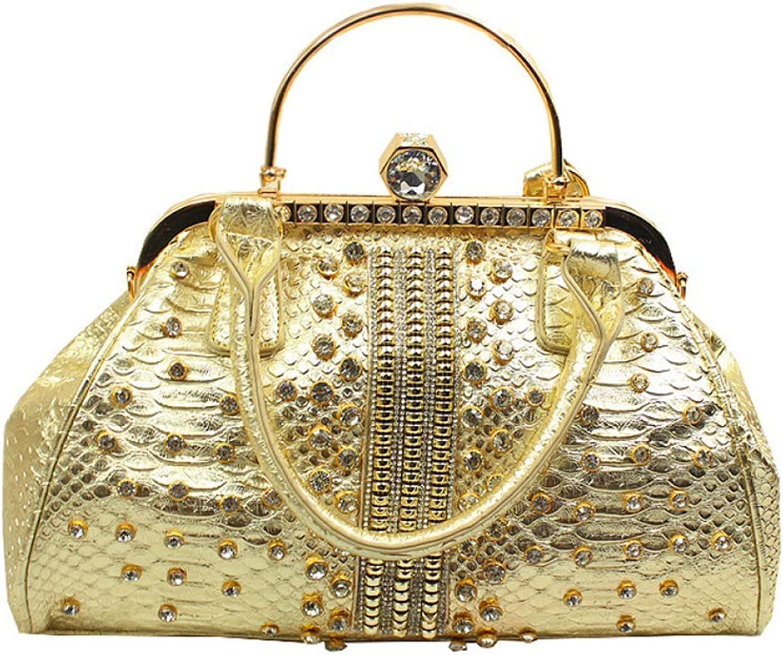 Soft Womens Glitter Clutch Bag,Crystal Sparkly gold Evening Bag for Bridal Prom Party Handbag Purse,gold30cm12cm28cm Handbag (color   gold, Size   30cm12cm28cm)