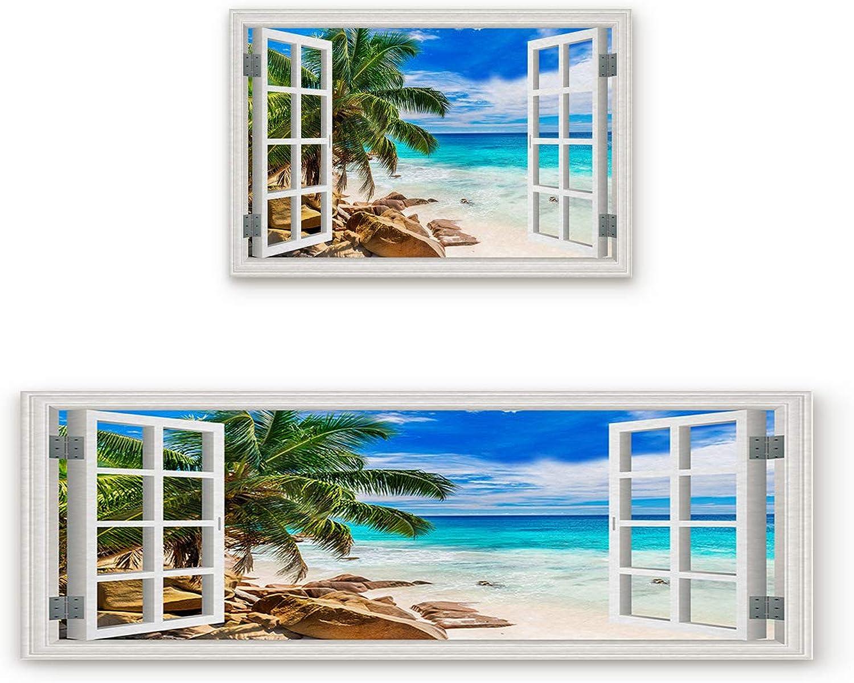 SODIKA Non Slip Kitchen Rug Set 2 Piece, Floor Mat Carpet Runner,Ocean Decor Tropical Palm Trees on an Island Beach Through White Wooden Windows (15.7 x23.6 +15.7 x47.2  inches)