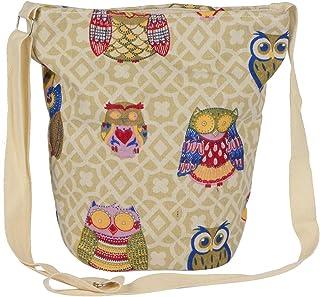 STRIPES Diwali Offer Owl Design Cotton Fabric Waterproof Sling Bag for Women/Girls