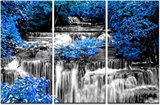 Visual Art Decor 3 Pieces Black and White Waterfall in Blue Forest Scenery Canvas Prints Home Living Room Large Modern Wall Decoration Ready to Hang (01 Blue, W-48 x H-32)
