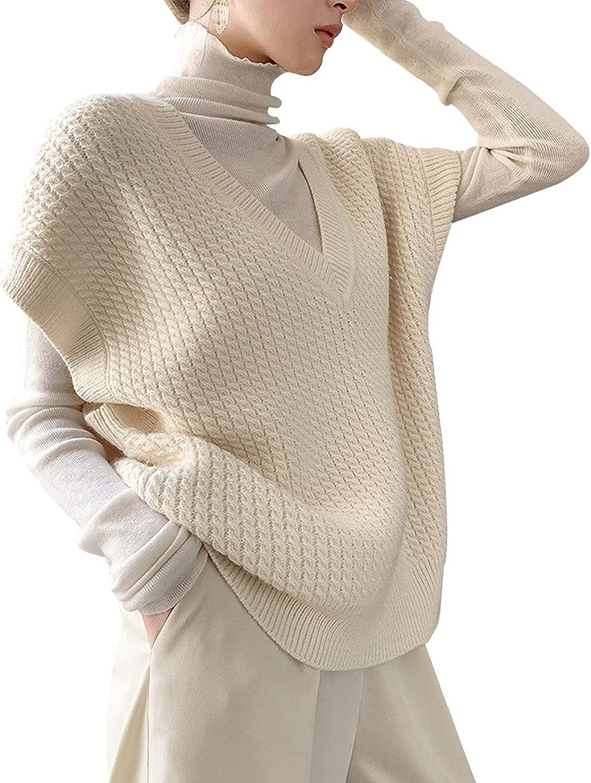 Gihuo Women' s Oversized V Neck Sweater Vest Sleeveless Pullover Knit Tops