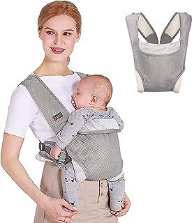 REENUO 抱っこひも おんぶ紐 抱っこ紐 ベビーキャリア 赤ちゃん 新生児 超軽量 収納袋付き お出かけ用 持ち運び便利 出産祝い 対面抱っこ 前向き抱っこ 新生児から3歳まで(グレー) (グレー)
