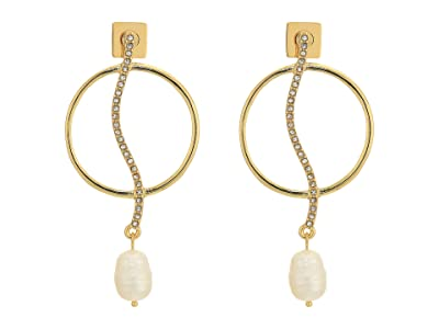 Vince Camuto Organic Pearl Drops Earrings (Gold/Crystal/Ivory Pearl) Earring