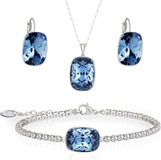Embellished with crystail from Swarovski Jewelry Set-Blue Square Stone-Pendant Necklace-Earrings-Bracelet for Women and Girls