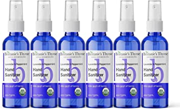 Brittanie's Thyme Organic Travel Hand Sanitizer Spray, 2 oz 6 Pack Lavender & Peppermint