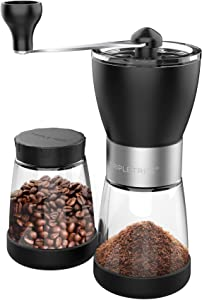 Manual Coffee Grinder, Hand coffee grinder mill with Ceramic Burrs, Two Clear Glass Jars 5.5 oz Each, Stainless Steel Handle, Suitable for Camping and Home Use