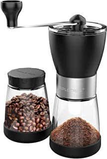 Manual Coffee Grinder, Hand coffee grinder mill with Ceramic Burrs, Two Clear Glass Jars 5.5 oz Each, Stainless Steel Handle,Suitable for Camping and Home Use