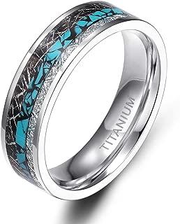 TIGRADE 6mm 8mm Titanium Rings Turquoise Imitated Meteorite Inlaid Wedding Band Size 6-12