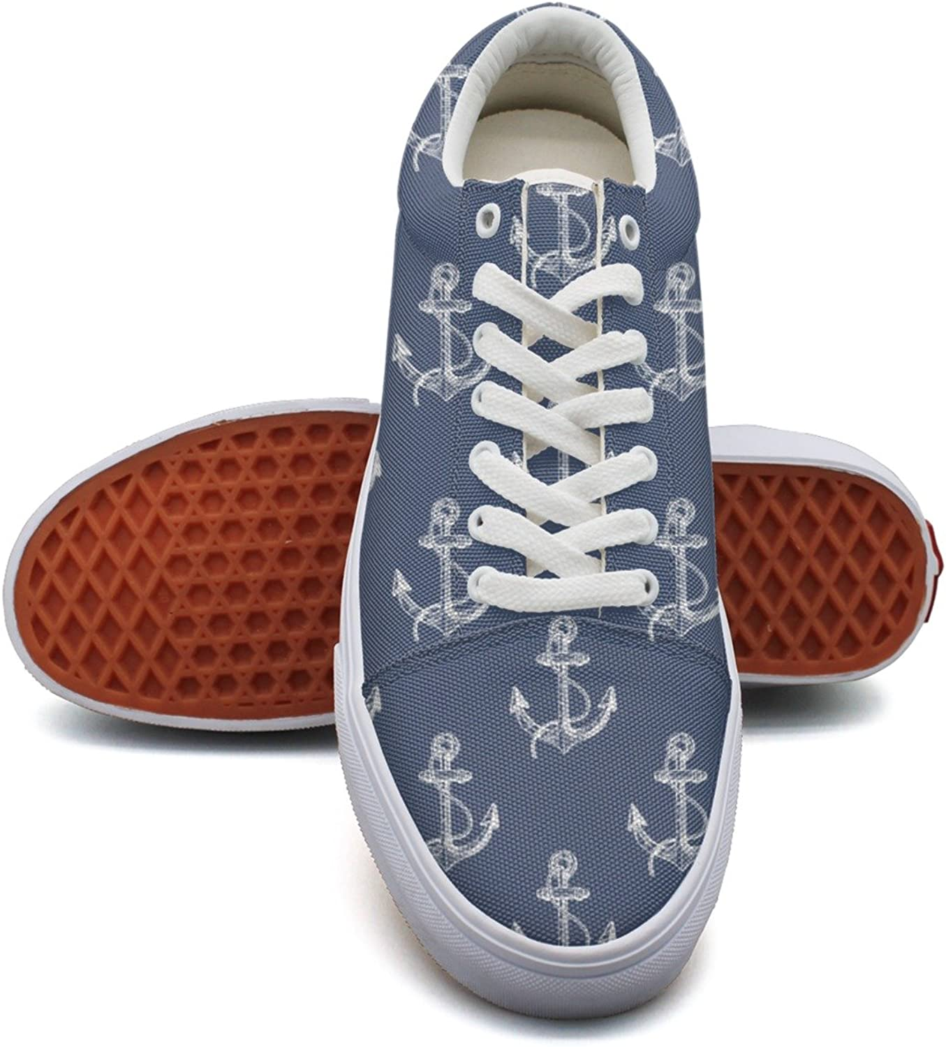 Feenfling Hand Drawn Big Boat Anchor bluee Womens Casual Canvas Running shoes Low Top Hip Hop Volleyball Sneakers for Women's