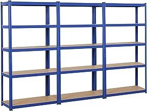 Yaheetech 3 x opbergrek 180 x 90 x 40 cm rek voor zware lasten, kelderrek, gepoedercoat in blauw, met MDF-plank, steekrek,...