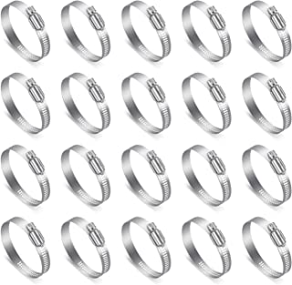 Hose Clamps Assortment, EnPoint 20 Pack 2 21/64-3 15/64 In (59-82 mm) 100% 304 Stainless Steel Adjustable Gear Hose Clamps Kit for Plumbing, Water Pipe, Automotive and Mechanical