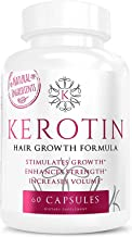 Kerotin Hair Growth Vitamins for Natural Longer, Stronger, Healthier Hair - Enriched with Biotin, Vitamin B, Folic Acid - Promotes Frizz-Free, Keratin Rich Hair for All Hair Types - 60 Capsules (1)