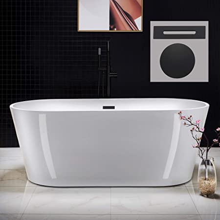 Woodbridge 67 Acrylic Freestanding Bathtub Contemporary Soaking Tub With Brushed Nickel Overflow And Drain