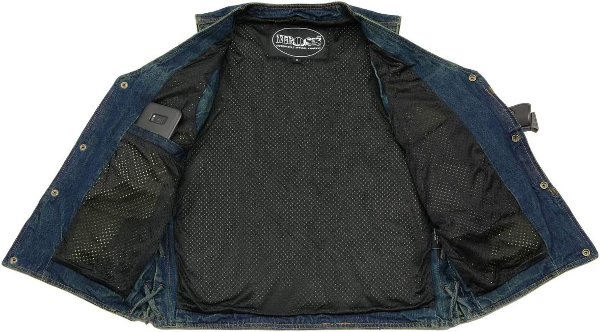 M Boss Motorcycle Apparel BOS13005 Men's Blue Side Lace Denim Vest with Denim Style Chest Pockets - X-Large