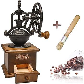 手挽きコーヒーミル 復古式 セラミック刃 ステンレス 手動 Fujipro 家庭用 ブラシ付属 古典 木製 贈り物 (01観覧車式)