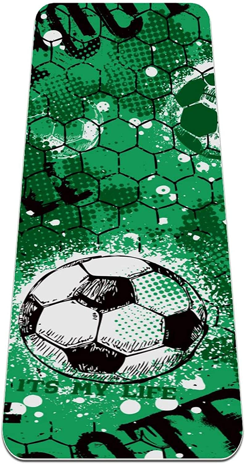 Yoga famous Mat Credence Football Pattern Green Thick suitable Exer Slip Non for