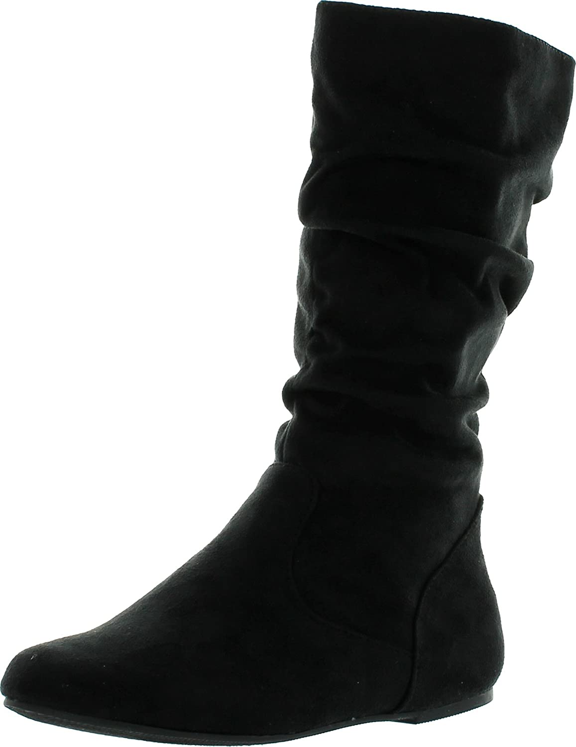 Soda Womens Zuluu-2 Girly Fashion Slouchy Knee-High Flat Boots with Side Zipper in Black Faux Suede