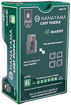 Bepuzzled QUARTET Hanayama Cast Metal Brain Teaser Puzzle (Level 6) Puzzles For Kids and Adults Ages 12 and Up