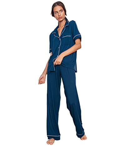 Eberjey Gisele Pajamas Short Sleeve Pants Set (Navy/Ivory) Women