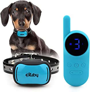 eXuby - Tiny Shock Collar for Small Dogs 5-15lbs - Smallest Collar on The Market - Combines Sound, Vibration, Shock - 9 Intensity Levels - Pocket-Size Remote - Long Battery Life - Waterproof Design