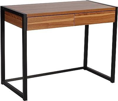 WOLTU® Schreibtisch TSG27dc Computertisch Bürotisch Arbeitstisch PC Laptop Tisch, in Melamin, mit 2 Schubladen, aus Holz und Stahl, 100x50x76cm(BxTxH), Dunkelbuche