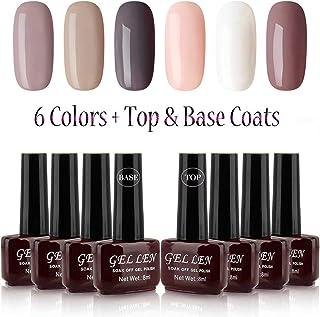 Gelllen Gel Polish Set - 6 Colors With Top Coat Base Coat, Khaki Brown Shade Series Home Gel Manicure Set