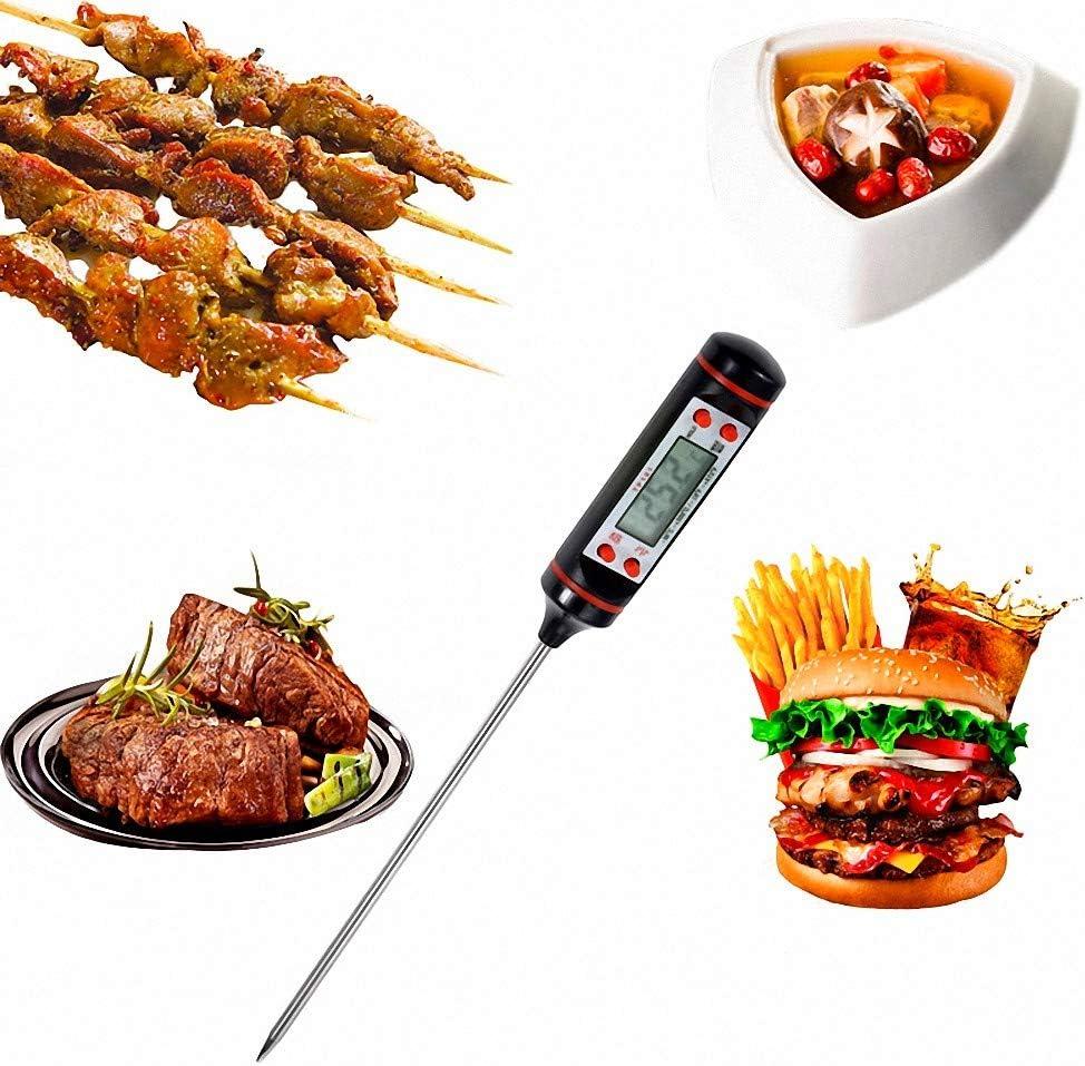 Tekanxc Küche Digital BBQ Food Thermometer Fleisch Kuchen Candy Fry Grill Dinning Haushalt Kochen Thermometer Messgeräte 2 Stücke, Schwarz Schwarz