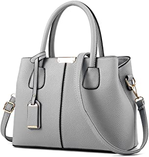 Women's Top-handle Cross Body Handbag Middle Size Purse Durable Leather Tote Bag