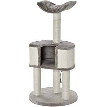 "PawHut 43"" Plush Cat Tree Activity Condo with Sisal Scratching Posts, Elevated Comfortable Perch, & Roomy Interior Area"