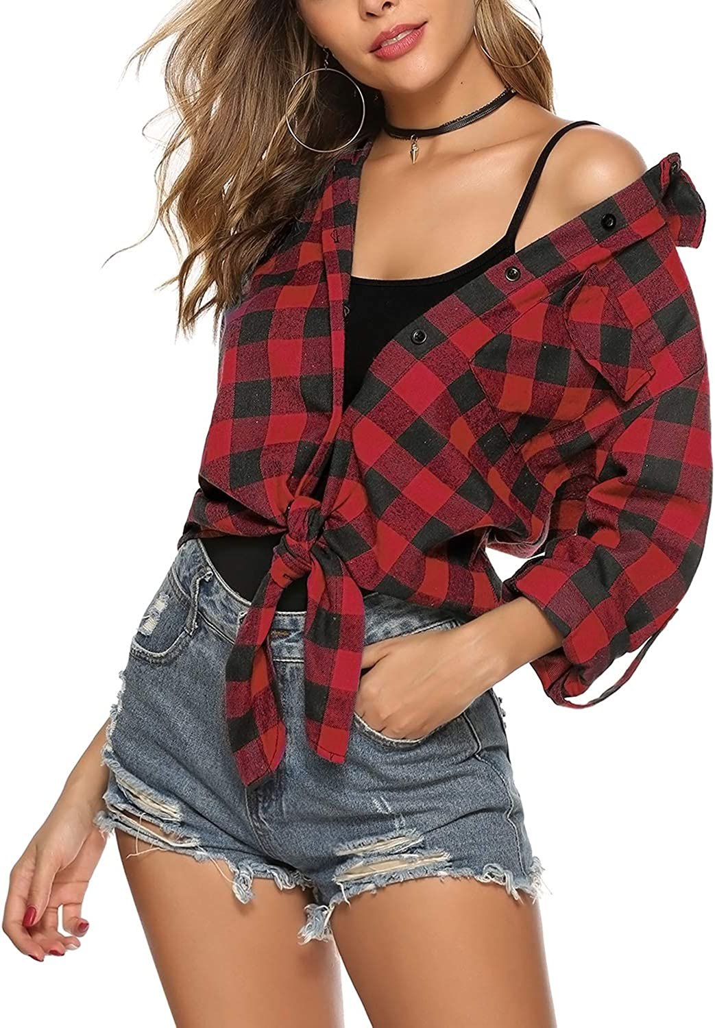Hawiton Womens Long Sleeve Roll Up Plaid Flannel Shirt Button Down Boyfriend Casual Tops with Pockets