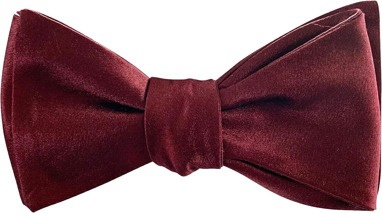 Woven Silk Satin Formal Bow Tie For Men Self Tie Bowtie Wine Maroon The Ellis Tie Company Tuxedo Wedding