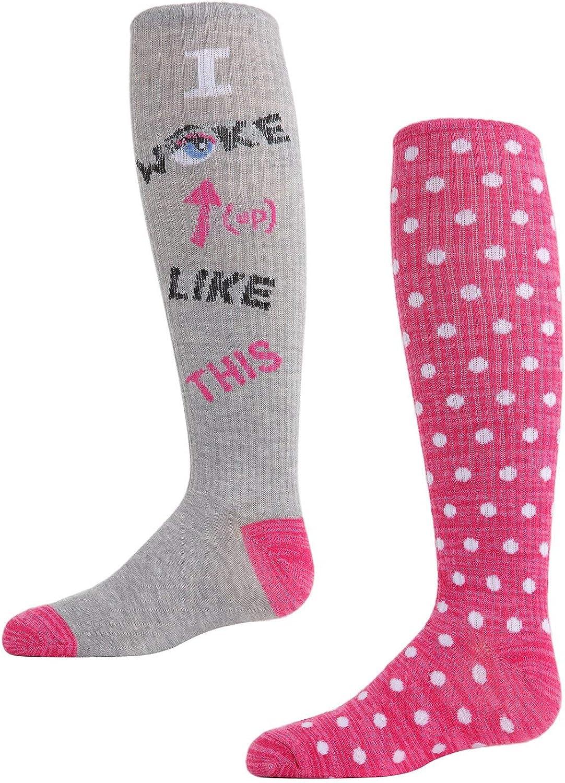 MeMoi I Woke Up Like This Girls Knee High Socks 2-Pack Assorted 9-11