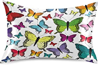 Blueangle Colorful Butterflies Satin Pillowcase for Hair and Skin Silk Pillowcase, Standard Size(20x26 inches) - Slip Cool...