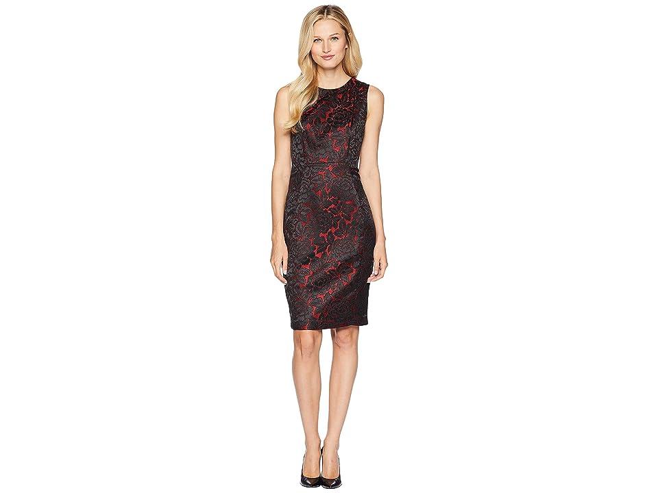 Calvin Klein Novelty Sheath Dress w/ Floral Print (Black/Red) Women