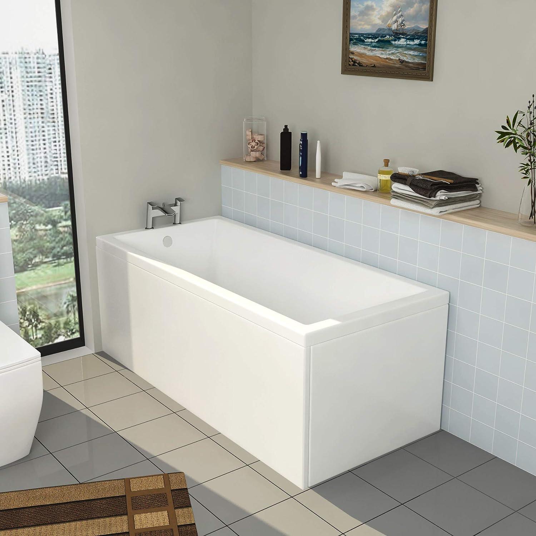 Cesar 1800 x 800mm Designer Single Ended Acrylic Bath with Front Panel Straight Bathroom Bathtub