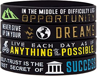 Sainstone Inspirational Bracelets, Motivational Wristbands for Athletes - Anything is Possible, Success, Dreams, Opportunity for Athletes, Men, Women and Teens Sports Fan Wristbands Gifts