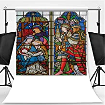London The Adoration of Magi on The Stained Glass in The Church St Theme Backdrop Photography Backdrop,Michael Cornhill by Clayton and Bell from,3.2x5ft