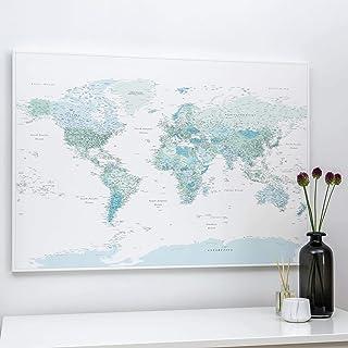 Planisfero da Parete con Puntine - Stampa su Tela - Regalo per il Viaggiatore - 3 Dimensioni: 100x70 cm / 120x80 cm / 150x...