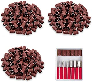 Professional Carbide Nail Drill Bits 3/32 Inch with 300pcs Sanding Bands for nail manicure pedicure drills, acrylic gel nails