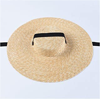 Newest Women Sun Hat French Style Wide Brim Straw Hat Casual Natural Wheat Straw Hat 15cm-Original Color 56-58cm