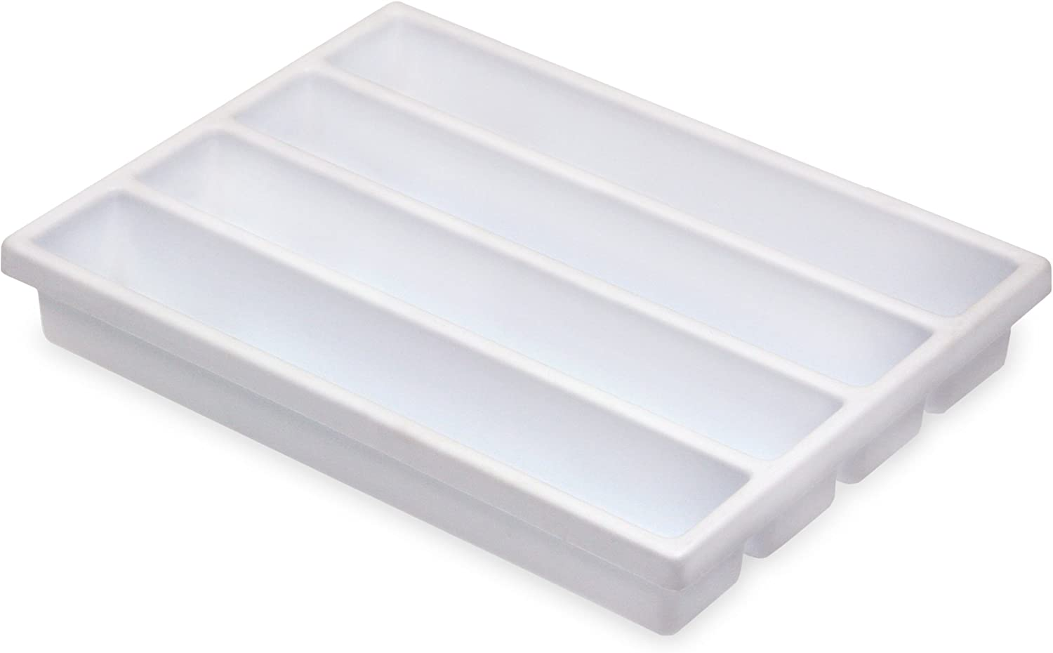 TrippNT 50975 High Impact Styrene 4 Long Compartment  Drawer Organizer, 11-5 8  Width x 2-3 8  Height x 15-5 8  Depth
