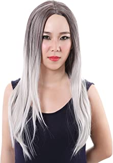 Colorful House Women's Long Straight Hair Black to Grey Cosplay Costume Wig
